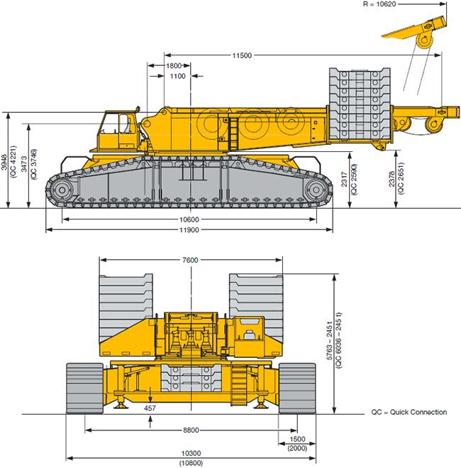 Схема габаритов (размеров) гусеничного крана Liebherr LR 1750 750 тонн.